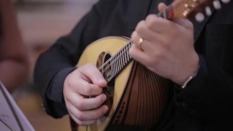 Mandolin an Italian man hands player Live Action