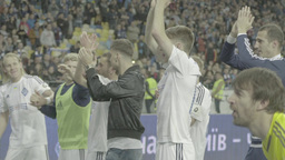 The players of the football team thank fans for their support Footage