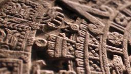 Aztec Calendar Stone Close Up Footage