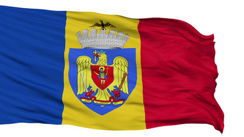 Bucharest City Isolated Waving Flag Animation