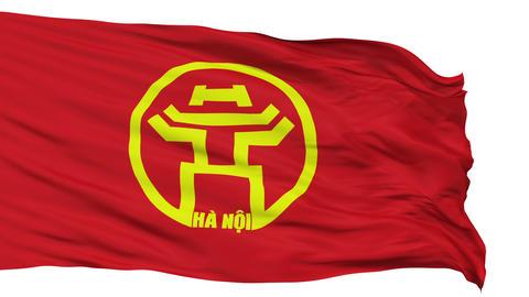 Hanoi City Isolated Waving Flag Animation