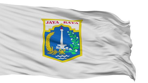 Jakarta City Isolated Waving Flag Animation