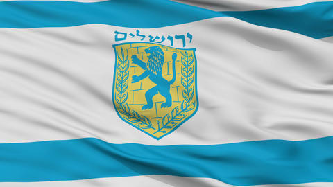 Jerusalem City Close Up Waving Flag Animation