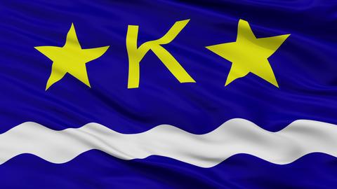Kinshasa City Close Up Waving Flag Animation