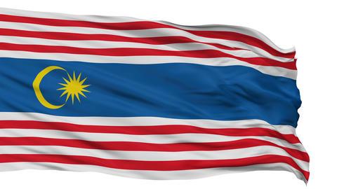 Kuala Lumpur City Isolated Waving Flag Animation