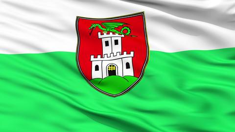Ljubljana City Close Up Waving Flag Animation
