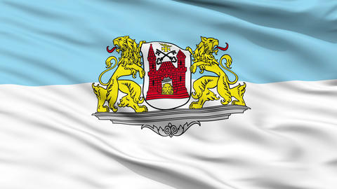 Riga City Close Up Waving Flag Animation