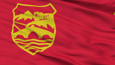 Skopje City Close Up Waving Flag Animation