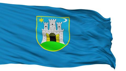 Zahreb City Isolated Waving Flag Animation