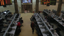 Egypt Stock Exchange Arab stock brokers screen and tickers Footage