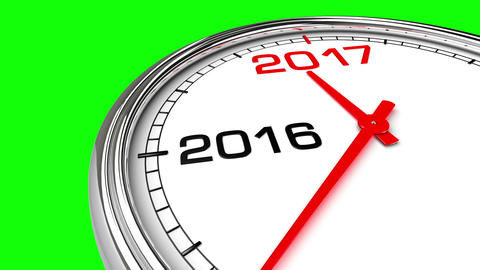 New Year 2017 Clock (Green Screen) Animation