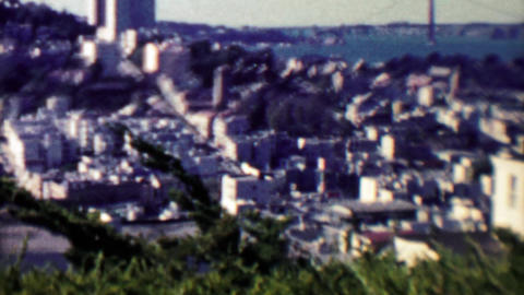 1961: View from Coit Tower looking west across the historic city Footage