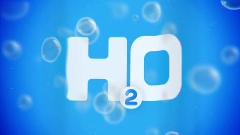Bubbles floating up on blue background with H2O Animation
