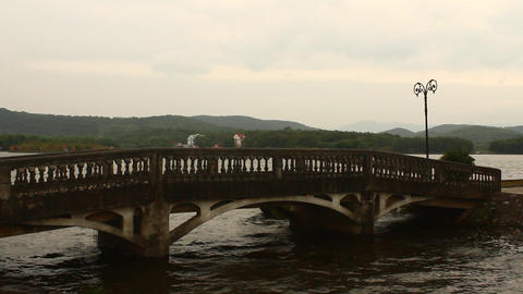 bridge over the river, Asia Footage