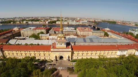 Aerial View. Admiralty, Spire. Saint-Petersburg. 4K stock footage