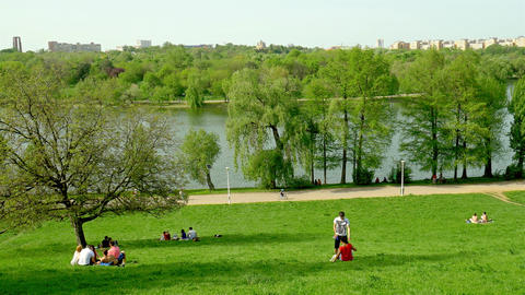 People Relaxing And Having Picnic In Youths Public Park Footage