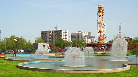 People Having Fun In Youths Public Amusement Park In Bucharest Footage