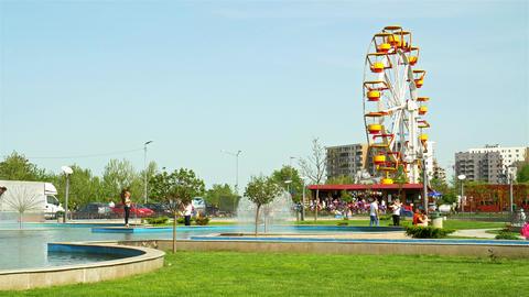 People Having Fun In Youths Public Amusement Park In Bucharest stock footage