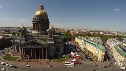 Aerial view. St. Isaac's Cathedral in St. Petersburg. 4K Footage