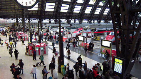 Milan, (Milano) Italy. Travelers inside Milan railway station Live Action