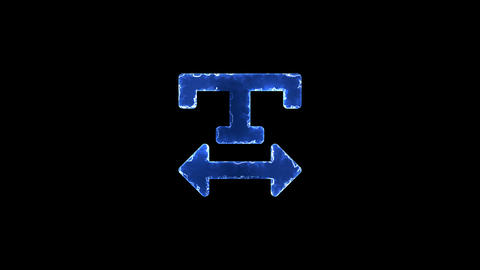 Symbol text width. Blue Electric Glow Storm. looped video. Alpha channel black Animation