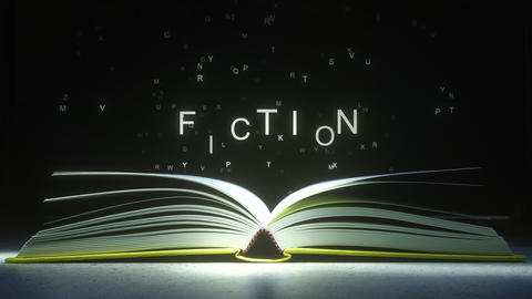 FICTION caption made of glowing letters from the open book. 3D animation ライブ動画