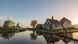 Dutch traditional house sunrise time lapse at Zaanse Schans Village, Amsterdam Footage