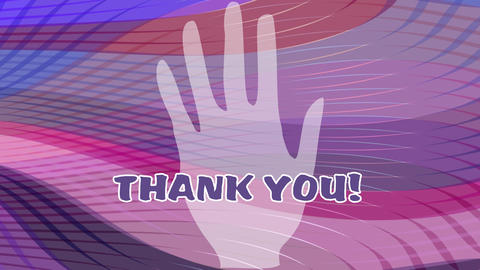 Thank you outro white palm rotating on purple wavy background, zooming text Animation