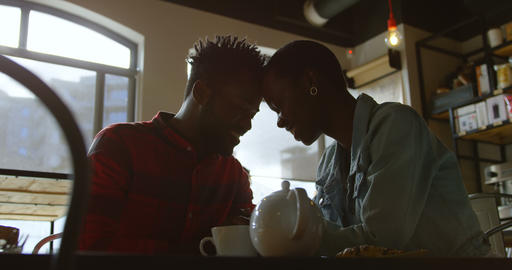 Couple romancing in cafe 4k Live Action