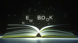 NEW BOOK caption made of glowing letters from the open book. 3D animation Live Action