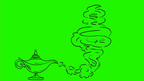Genie Coming Out of Oil Lamp Drawing 2D Animation Animation