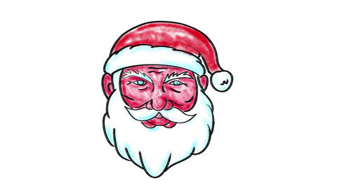Santa Claus Transform Merry Xmas Watercolor 2D Animation Animation