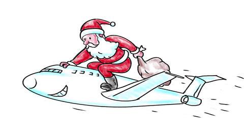 Santa Claus Riding Jet Plane Watercolor 2D Animation Animation