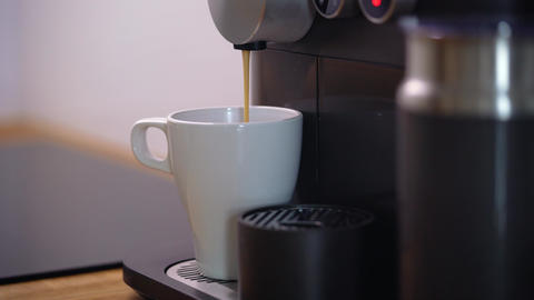 Home coffee machine prepares a cup of fresh coffee Footage