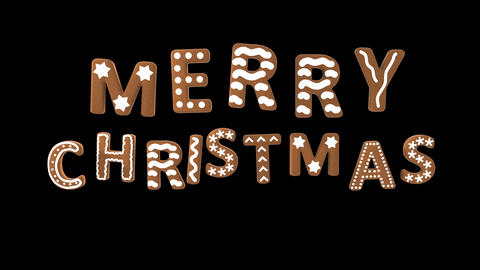 Animation of gingerbread letters isolated with alpha channel. Merry Christmas CG動画