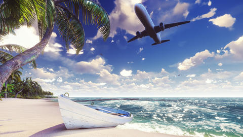 A passenger plane flies over an exotic tropical island in the bl フォト