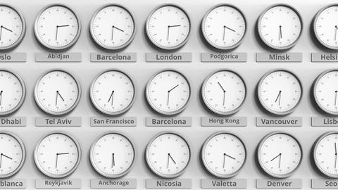 Round clock showing Barcelona, Spain time within world time zones. 3D animation Live Action