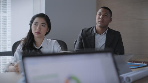 Teamwork With Young Asian Business Woman And Black Businessman Working Live Action