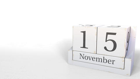 November 15 date on wooden blocks calendar. 3D animation Footage