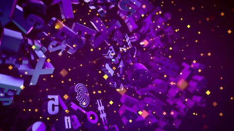 Spinning Abstract Violet 3D Computer Signs CG動画素材