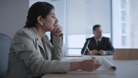 Tired Businesswoman Business Woman With Headache In Office Meeting Room Live Action