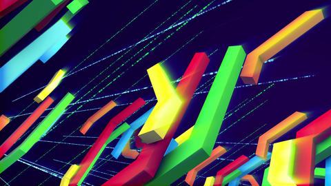 Dropping colorful crisscross techno bars Animation