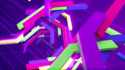 Tumbling colorful interlaced techno bars Animation