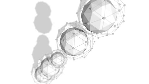 Abstract Spheres Rotating Diagonally in One Line Animation