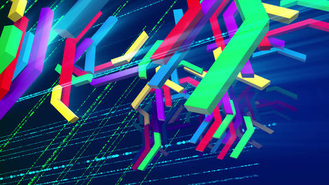 Flying down colorful zigzag techno bars Animation