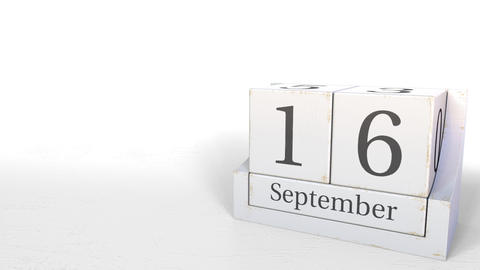 September 16 date on wood bricks calendar. 3D animation Footage