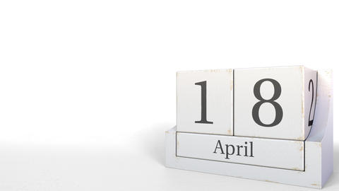 Cube calendar shows April 18 date. 3D animation Footage