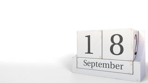 September 18 date on retro blocks calendar, 3D animation Live Action