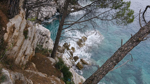 Top view. Beautiful landscape of the adriatic sea. View of the crystal clear sea Footage
