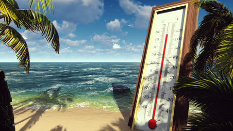Thermometer Fahrenheit Celsius shows rising temperature. The concept of global CG動画素材
